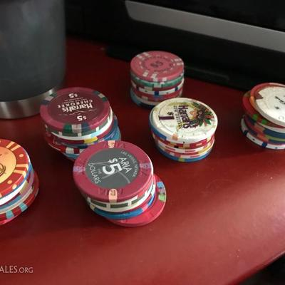Casino chips from various casinos from around the U.S. ranging from $1 chips to $20 chips. Price at Estate Sale: 1/2 the value of the chip.