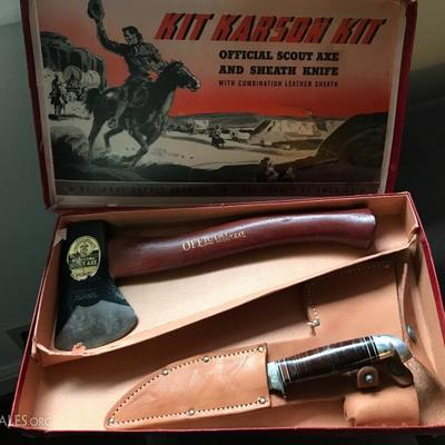 1954 Kit Karson's Kit of the official Boy Scouts of America axe and sheath knife. Valued at $200. Price at estate sale: $120