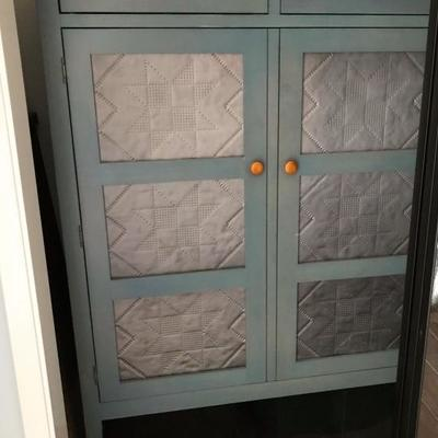 Ethan Allen Furniture Country Colors, stained in blue denim. Pie Safe/Wardrobe cabinet has 2 top drawers, 3 shelves inside, and pierced...