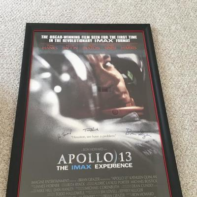 Signed Apollo 13 movie poster. Tom Hanks. Ron Howard. Brian Grazer. (1 of 4 pictures)