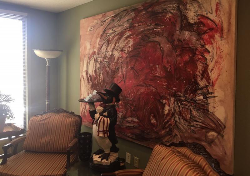 Jackson Pollack style original modern art, pair silk oversize chairs