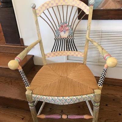 MacKenzie-Childs arm chair with rush seat