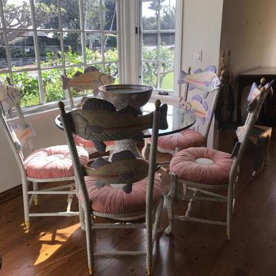 MacKenzie-Childs table and chairs