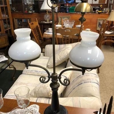 This double top Brass and Leather lamp Circa 1940s $95 OBO