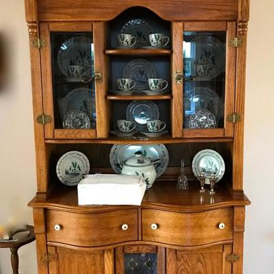 Antique Oak Hutch with bowed front drawers and stained glass