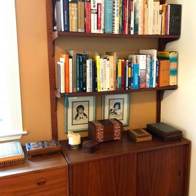 Mid Century Scandinavian Modern Modular Teak Wall Unit System Is Completely Modular, With Boxes And Shelves Able To Mount In Any Position...