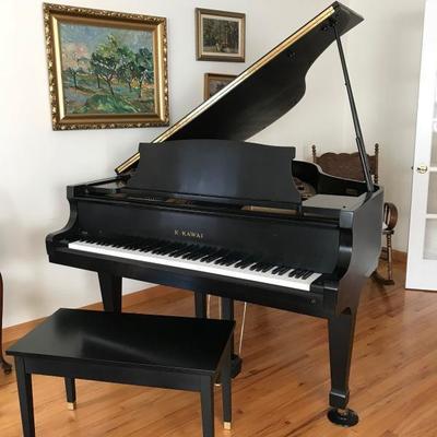 1990 Kawai Baby Grand Piano Ebony Gloss Finish With Bench from San Francisco Opera