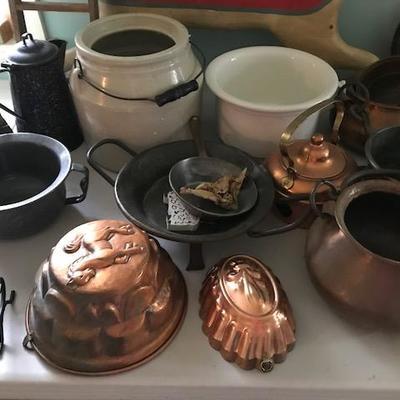 Copper Pots and Crocks.