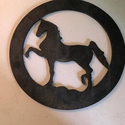 1 iron antique decoration with horse.