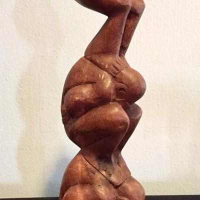 Carved wooden three figures sculpture