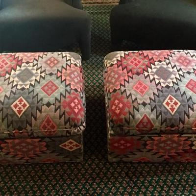 Pair of patterned ottomans on wheels