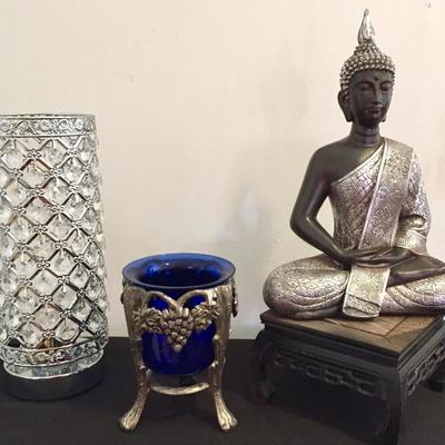 Beaded lamp, Decorative cobalt glass, Thai Buddha figure