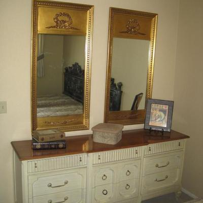 French Provincial Long Dresser with Pair of Mirrors