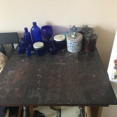 End Table and Blue Glass.