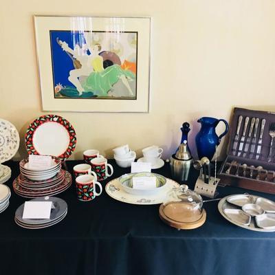 Porcelain & plated silver flatware.
