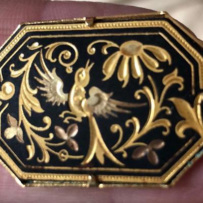 Bird & Flowers Brooch - Damascene, Gold Inlaid Steel, made in Toledo, Spain