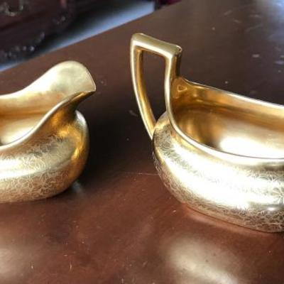 Osborne. Creamer & sugar bowl. Painted with 24K gold.