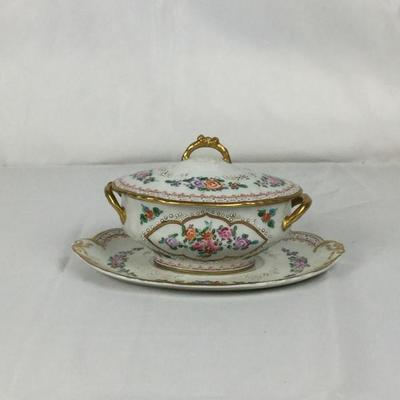 Lot #12 Limoges Covered Dish with Underplate