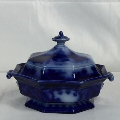 Lot #21 James Edward Flow Blue Covered Vegetable Dish