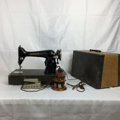 Lot #16 Antique Singer Sewing Machine W. Accessories