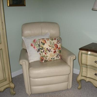 Small white leather recliner