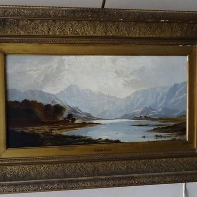 Hudson River School painting . Unsigned.