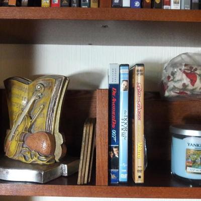 Musical bookends, coasters, DVDs, candle