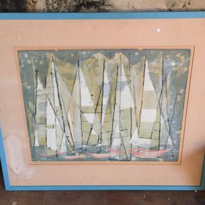 MODERNIST ARTWORK BY LAGUNA BEACH ARTIST-MARY ASHER