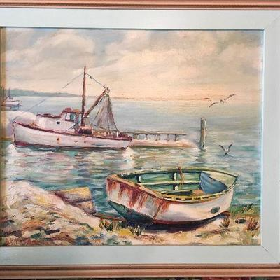 Original Dalhart Windberg Oil Painting from 1950.  Mr. Windberg was 17 years old and studying art under Simon Michael in Rockport. TX....