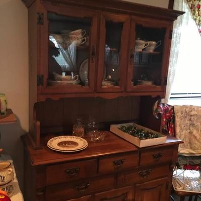 Early American Maple China Hutch