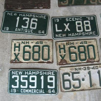 Collection of Vintage NH License plates