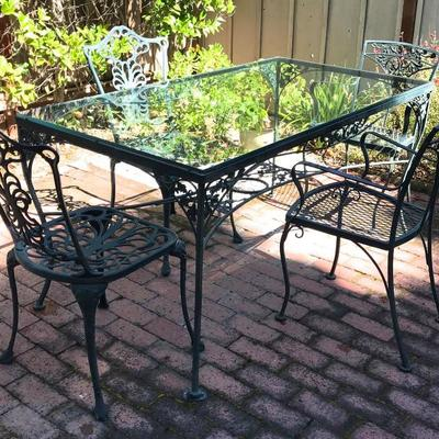 Patio Dining Set; Wrought Iron And Glass Top Table With 6 Chairs