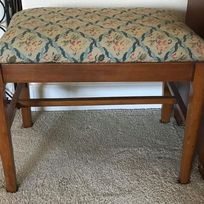 Antique Bench with needlepoint