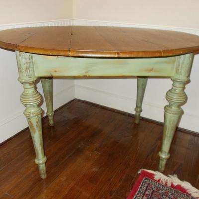 Oval painted table $395 46 1/2 X 40X 31