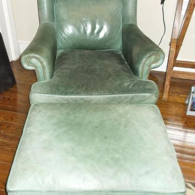 Hickory leather arm chair and ottoman $385 chair 31 X 40 X 39