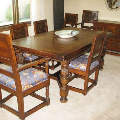 Dining room table with refractor ends and 8 chairs  BUY IT NOW  $ 395.00