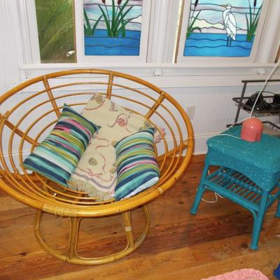 Bentwood chair $65  Wicker side table $38