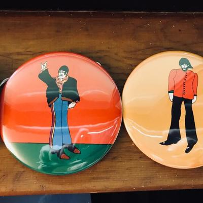 1968 pin-back buttons. Original vintage. The Beatles. Yellow Submarine. John Lennon and George Harrison.