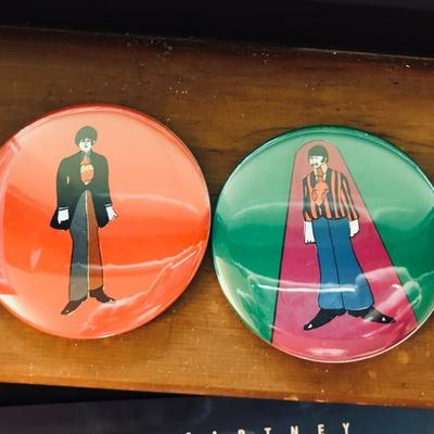 1968 pin-back buttons. Original vintage. The Beatles. Yellow Submarine. Paul McCartney and Ringo Star.