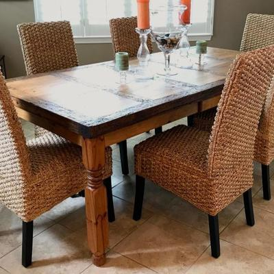 Wormhole Rustic Farm Dining Table with a unique drawer. Set of 6 Woven Seagrass Dining Chairs.