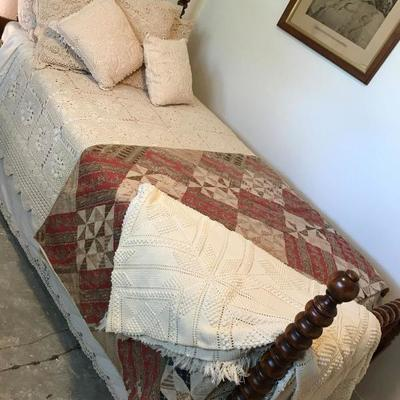 Vintage twin bed frame with slats. $125