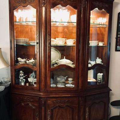 Gorgeous lighted china cabinet. $225