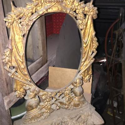 Large antique cast iron picture/mirror frame