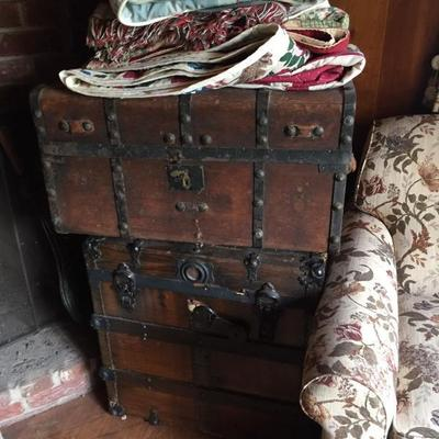 Numerous trunks in varying condition. c.1830-1900's. Some restored.