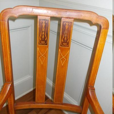 Sheraton style inlaid set of 5 dining chairs $695