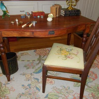 Antique library desk with spindle legs $295 48 X 27 X 30
