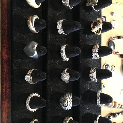 Many 925 Sterling silver rings.