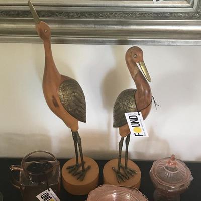 Pair of Wood/Brass Herons