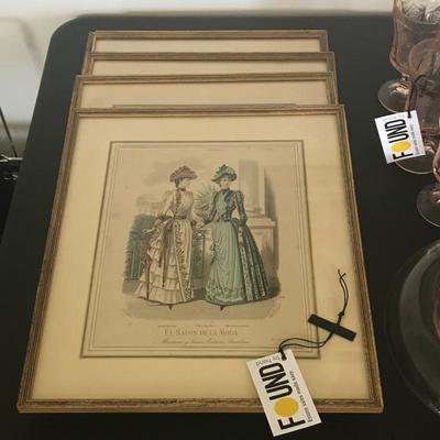 Set of 4 Framed Victorian Prints
