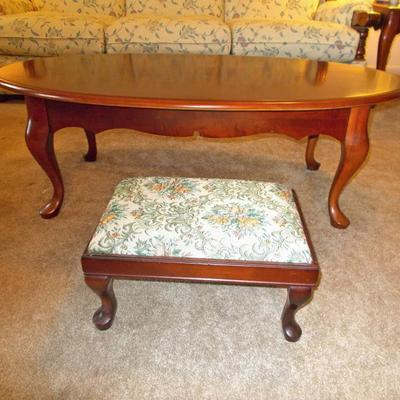 Queen Anne style coffee table $125 Foot stool $24